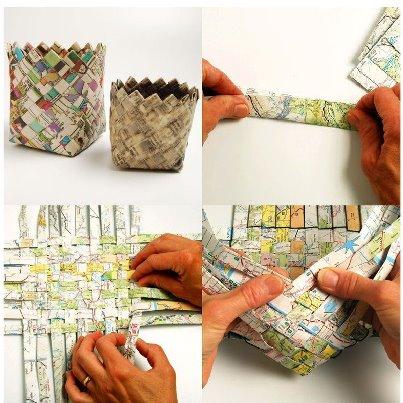 Proyectos de reciclaje cesta de papel peri dico just - Cestas de papel de periodico ...