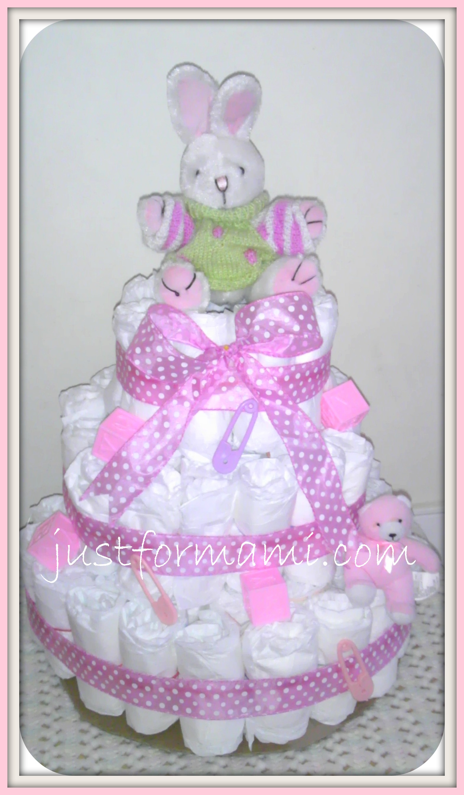 Pastel de Pa±ales para Baby Shower Pink Bunny Just for Mami