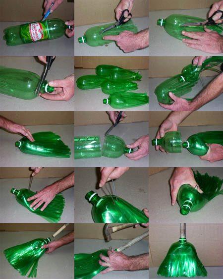 Proyectos de Reciclaje: Escoba hecha de botellas plásticas