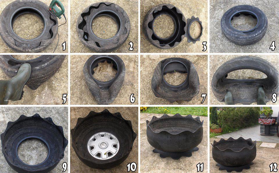 Proyecto de reciclaje:Macetas hechas con llantas